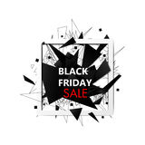 Black Friday Sales Banner with Lines and triangles  Stock Photo