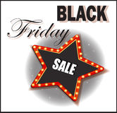 Black Friday. Sales Discounts. Retro shining star.  poster or banner Stock Images