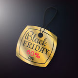 Black friday sales gold tag. Black friday sales tag and banner the gold style. Discount and price, design label,  emblem, flat style, discount symbols. Offer and Stock Photography