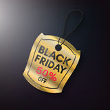 Black friday sales gold tag. Black friday sales tag and banner the gold style. Discount and price, design label,  emblem, flat style, discount symbols. Offer and Royalty Free Stock Images