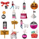Black Friday Sales icons set, cartoon style. Black Friday Sales icons set. Cartoon illustration of 16 Black Friday Sales vector icons for web Stock Images