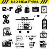 Black Friday Sales icons set, simple style. Black Friday Sales icons set. Simple illustration of 16 Black Friday Sales vector icons for web stock illustration
