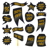 Black Friday Sales labels icons set, cartoon style. Black Friday Sales labels icons set. Cartoon illustration of 16 Black Friday Sales labels vector icons for Stock Image