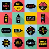 Black Friday Sales signs icons set, flat style. Black Friday Sales signs icons set. Flat illustration of 16 Black Friday Sales signs icons for web stock illustration