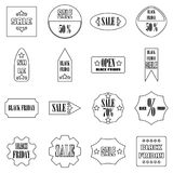 Black Friday Sales signs icons set, outline style. Black Friday Sales signs icons set. Outline illustration of 16 Black Friday Sales signs icons for web vector illustration