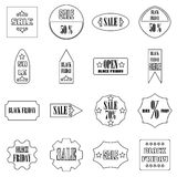 Black Friday Sales signs icons set, outline style. Black Friday Sales signs icons set. Outline illustration of 16 Black Friday Sales signs vector icons for web Stock Photos