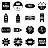 Black Friday Sales signs icons set, simple style. Black Friday Sales signs icons set. Simple illustration of 16 Black Friday Sales signs vector icons for web Stock Image