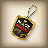 Black friday sales tag. And banner in style with golden elements. Discount and price, design label,  emblem, flat style discount symbols. Vector Illustration Stock Images