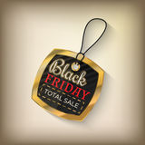 Black friday sales tag. And banner in style with golden elements. Discount and price, design label,  emblem, flat style discount symbols. Vector Illustration Royalty Free Stock Images