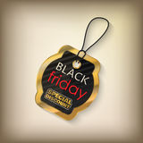 Black friday sales tag. And banner in style with golden elements. Discount and price, design label,  emblem, flat style discount symbols. Vector Illustration Royalty Free Stock Photos