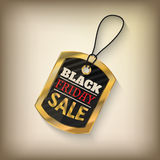 Black friday sales tag. And banner in style with golden elements. Discount and price, design label,  emblem, flat style discount symbols. Vector Illustration Stock Photo