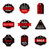 Black Friday sales tag and banners vector set. Black Friday sales tag and banners vector set Royalty Free Stock Photos