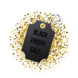 Black Friday sales tag. Black tag with golden glitter Stock Images