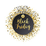 Black Friday sales tag. Black tag with golden glitter  Stock Photo