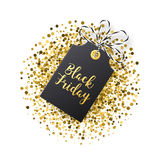 Black Friday sales tag. Black tag with golden glitter  Stock Image