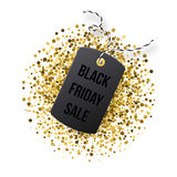 Black Friday sales tag. Black tag with golden glitter  on white backround. Stock Photo