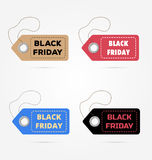 Black Friday, sales. Vector illustration. Big sale, discount. Advertising, marketing tag. Four colored price stickers on the white background Royalty Free Stock Photo