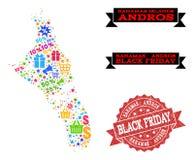 Black Friday-Samenstelling van Mozaïekkaart van de Bahamas - Andros Eiland en Gekraste Verbinding royalty-vrije illustratie