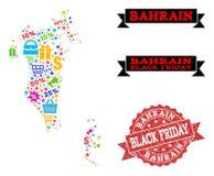 Black Friday sammansättning av den mosaiska översikten av Bahrain och den skrapade skyddsremsan royaltyfri illustrationer