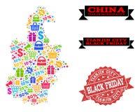 Black Friday sammansättning av den mosaiska översikten av den Tianjin kommunen och den skrapade stämpeln royaltyfri illustrationer