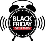 Black friday save up to 80% alarm clock black icon with red ribb. On, vector Stock Image