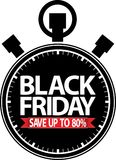 Black friday save up to 80% stopwatch black icon with red ribbon. Vector Stock Photo