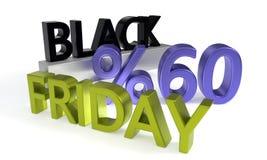 Black Friday sconta sessanta per cento, rappresentazione 3d Fotografia Stock Libera da Diritti