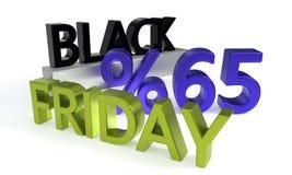 Black Friday sconta sessantacinque per cento, rappresentazione 3d Fotografie Stock