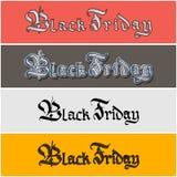 Black Friday, segnante autoadesivo con lettere Fotografia Stock