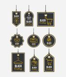 Black friday with set of discount offer tags and pendant of threads in white background. Vector illustration Royalty Free Stock Photos