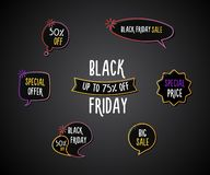 Black Friday set of fun labels, tags, speech bubbles, banners, logos, icons. Hand drawn doodle vector design set. Eps10 stock illustration