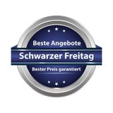 Black Friday sale button designed for the German retail market. Black Friday shiny button designed for the German retail market. Text translation: Black Friday Royalty Free Stock Images