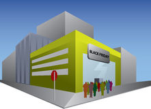 Black friday shop. Black friday - shop with people in front Stock Photos