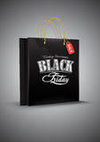 Black Friday. Shop bag on gray background. Vector Royalty Free Stock Photo