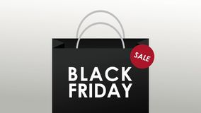 Black friday shopping bag HD animation. Black friday shopping bag sale over white background High definition colorful animation scenes stock video