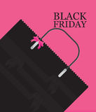 Black Friday Shopping bag sale on pink background. Stock Photos