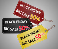 Black Friday shopping bag and sales tag marketing template. Stock Photography
