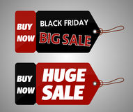 Black Friday shopping bag and sales tag marketing template. Royalty Free Stock Images