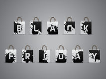 Black friday shopping bags with splattered letters Stock Image