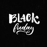 Black friday shopping banner with handwritten text. Vector sale banner. White words on black background vector illustration