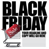 Black Friday shopping cart background Stock Photography