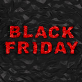 Black Friday (shopping discount creative concept). Red crumple text on warped polygonal black background. Red creasy words as warped stone on black polygonal Royalty Free Stock Image