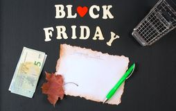 Black Friday shopping list Stock Image