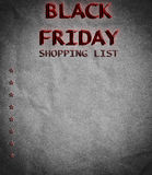 Black Friday shopping list on old paper Stock Image