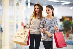 Black Friday shopping. Modern customers shopping on Black Friday stock image