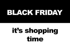 Black Friday shopping sale concept. Illustration of sale date. Royalty Free Stock Photo