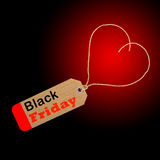 Black Friday shopping sale tag concept. With heart shape Stock Images