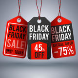 Black friday shopping vector background with paper sale price tags Stock Images