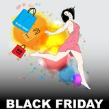 Black Friday, vector illustration with young girl. Black Friday Shopping, vector illustration with young girl and shopping bags vector illustration