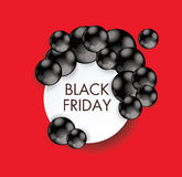 Black Friday sign design with paper banner and black balls. Royalty Free Stock Photography